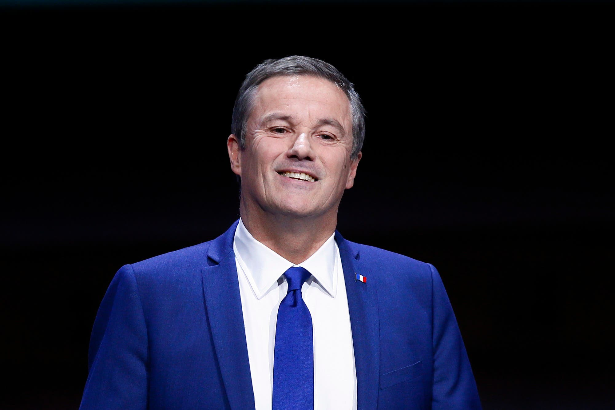 Independent candidate for the 2017 French Presidential election Nicolas Dupont Aignan delivers his speech during the Gathering of French Mayors at Maison de la Radio in Paris, Wednesday, March 22, 2017. (AP Photo/Francois Mori)
