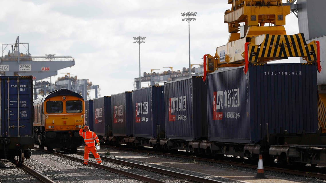 The first UK to China export train, laden with containers of British goods is seen during the official ceremony to mark its departure from the DP World London Gateway, Stanford-le-Hope, on April 10, 2017. (Reuters)