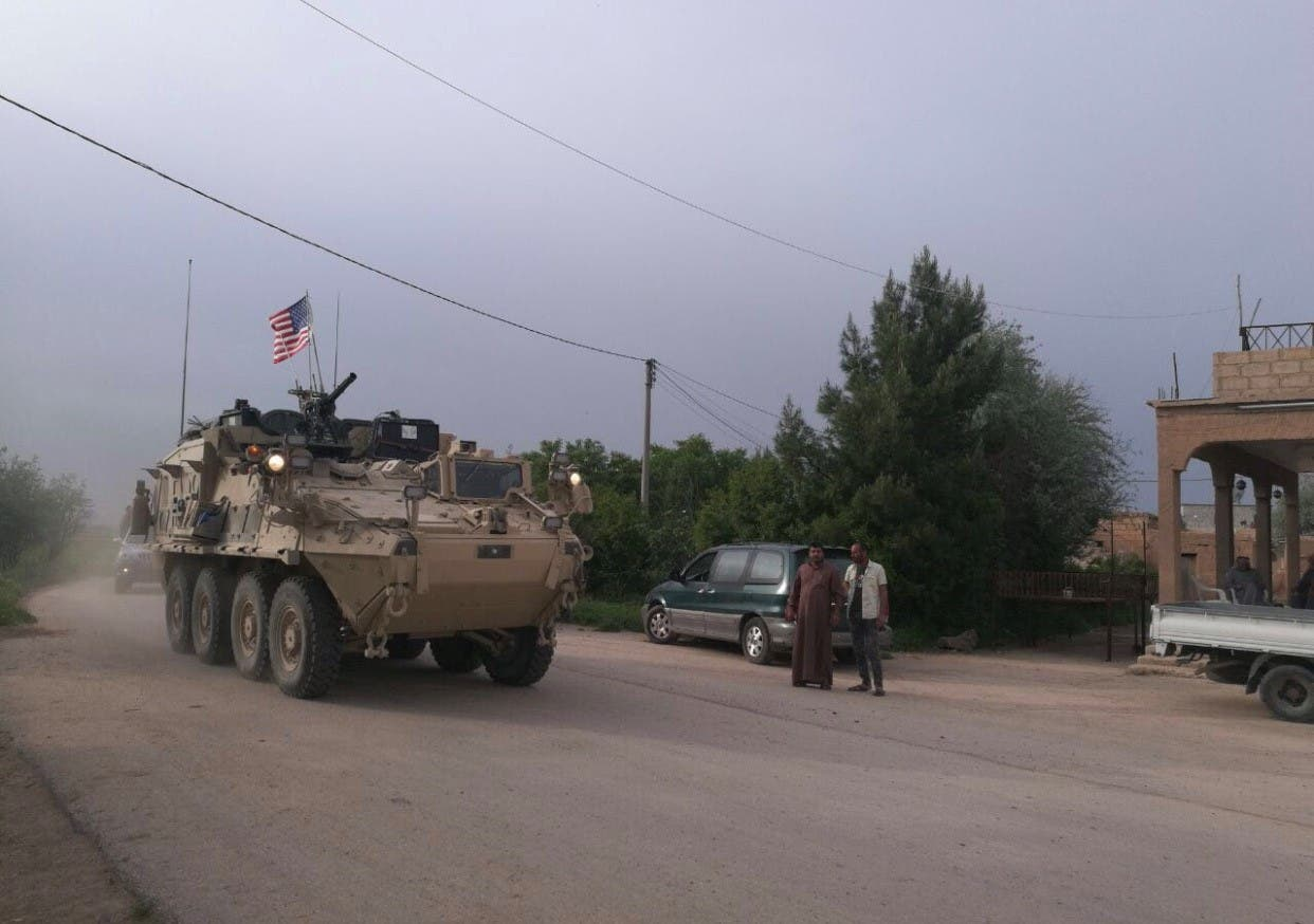 US military vehicles drive in the town of Darbasiya next to the Turkish border, Syria April 28, 2017. (Supplied)