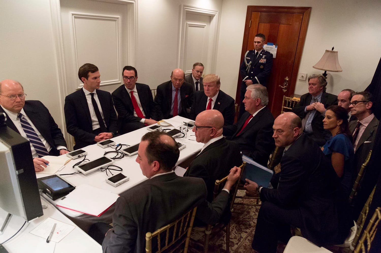 US President Donald Trump is shown in an official White House handout image meeting with his National Security team and being briefed by Chairman of the Joint Chiefs of Staff General Joseph Dunford via secure video teleconference after a missile strike on Syria (Photo: The White House/Handout via Reuters)