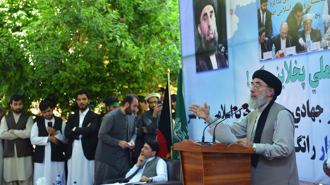 Warlord Gulbuddin Hekmatyar, leader of Hezb-i-Islami, gives a speech in Mihtarlam city, capital of eastern Laghman province, Afghanistan, Saturday, April 29, 2017. (AP)
