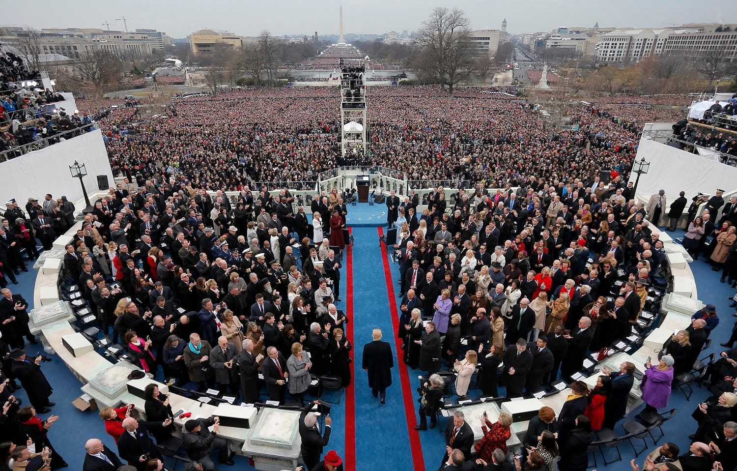 Donald Trump arrives for the inauguration ceremonies swearing him in January 20, 2017, there was some dispute over the number of people who attended – from this point his presidency has been shrouded in controversy  (Photo: Reuters/Brian Snyder)
