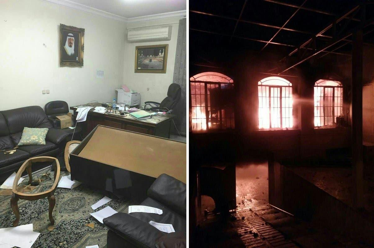 جانب من تدمير وإحراق ممتلكلات ومبنى السفارة