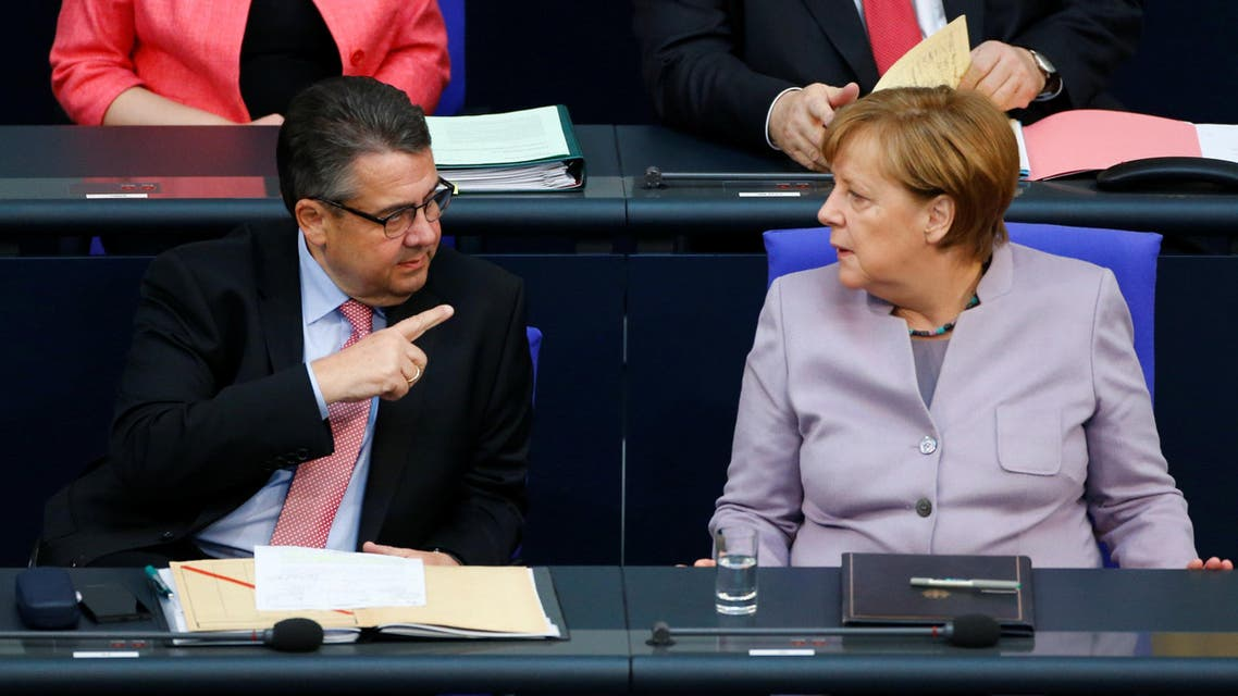 German Chancellor Angela Merkel and Foreign Minister Sigmar Gabriel attend lower house of parliament Bundestag session in Berlin, Germany, April 27, 2017