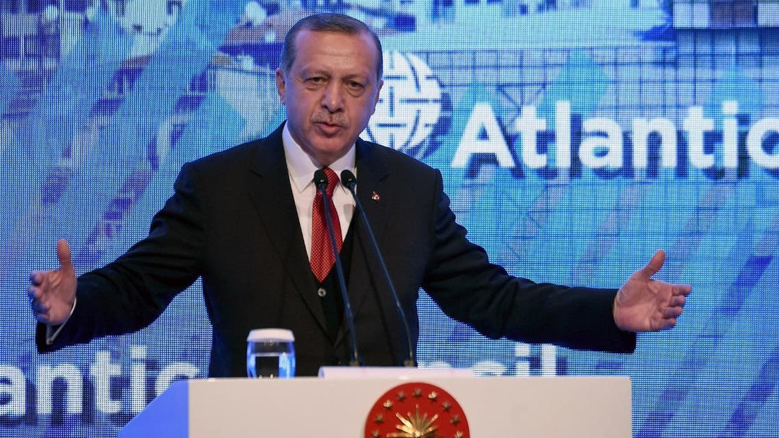 Turkish President Recep Tayyip Erdogan gestures as he gives a speech on April 28, 2017 during the Atlantic Council summit in Istanbul. (AFP)