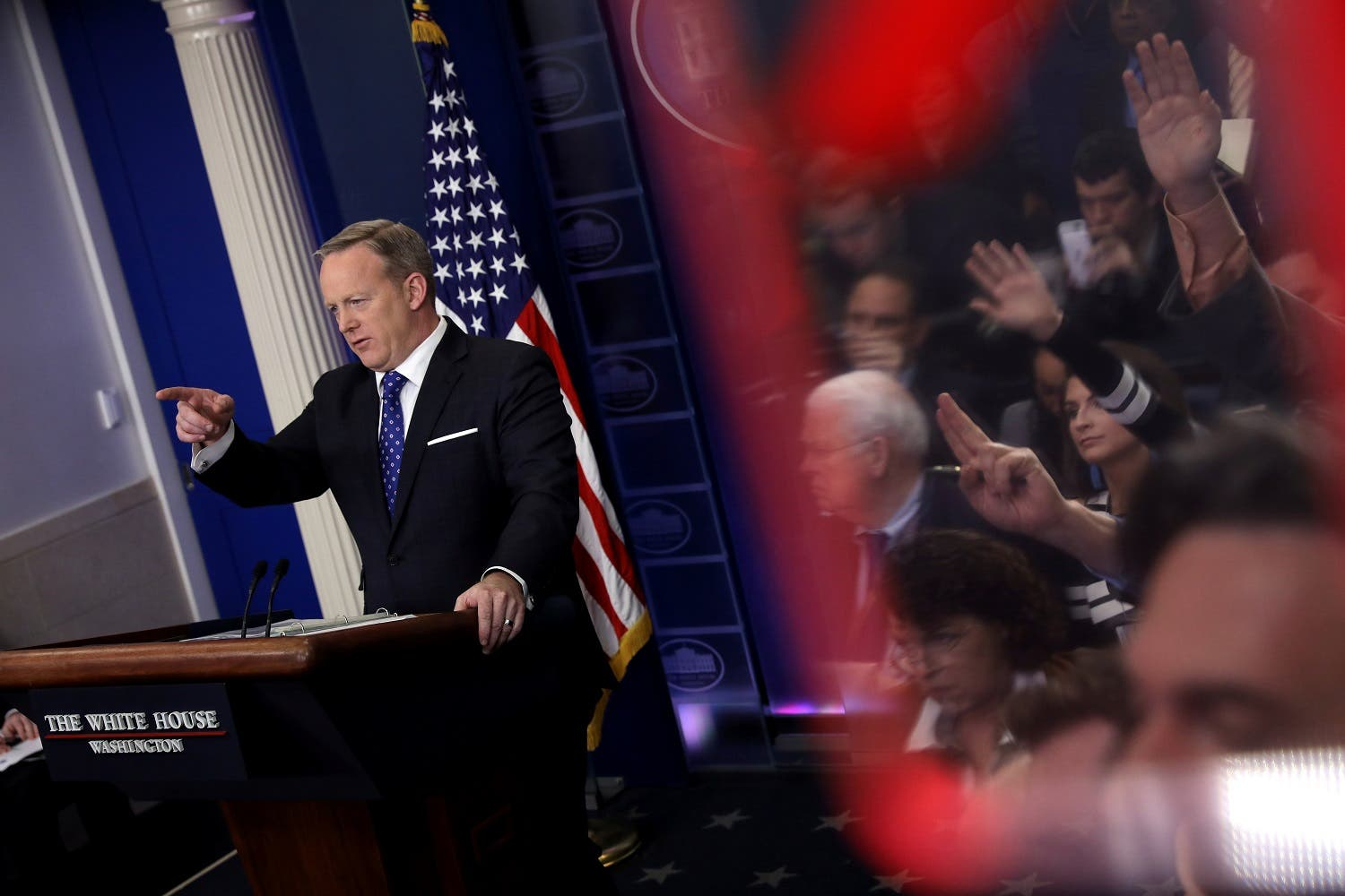 White House spokesman Sean Spicer has become the center of many stories over the past 100 days (Photo: Reuters/Carlos Barria)