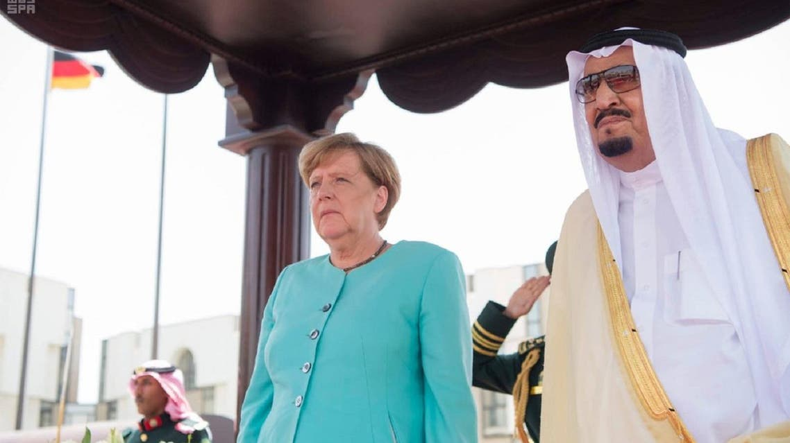 King Salman receives  Dr. Angela Merkel, the Chancellor of the Federal Republic of Germany at Al-Salam Palace  in Jeddah on Sunday. (SPA)