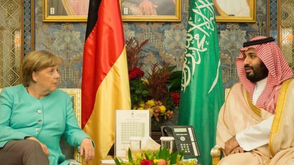 ولي ولي العهد السعودي الأمير محمد بن سلمان والمستشارة الألمانية أنجيلا ميركل