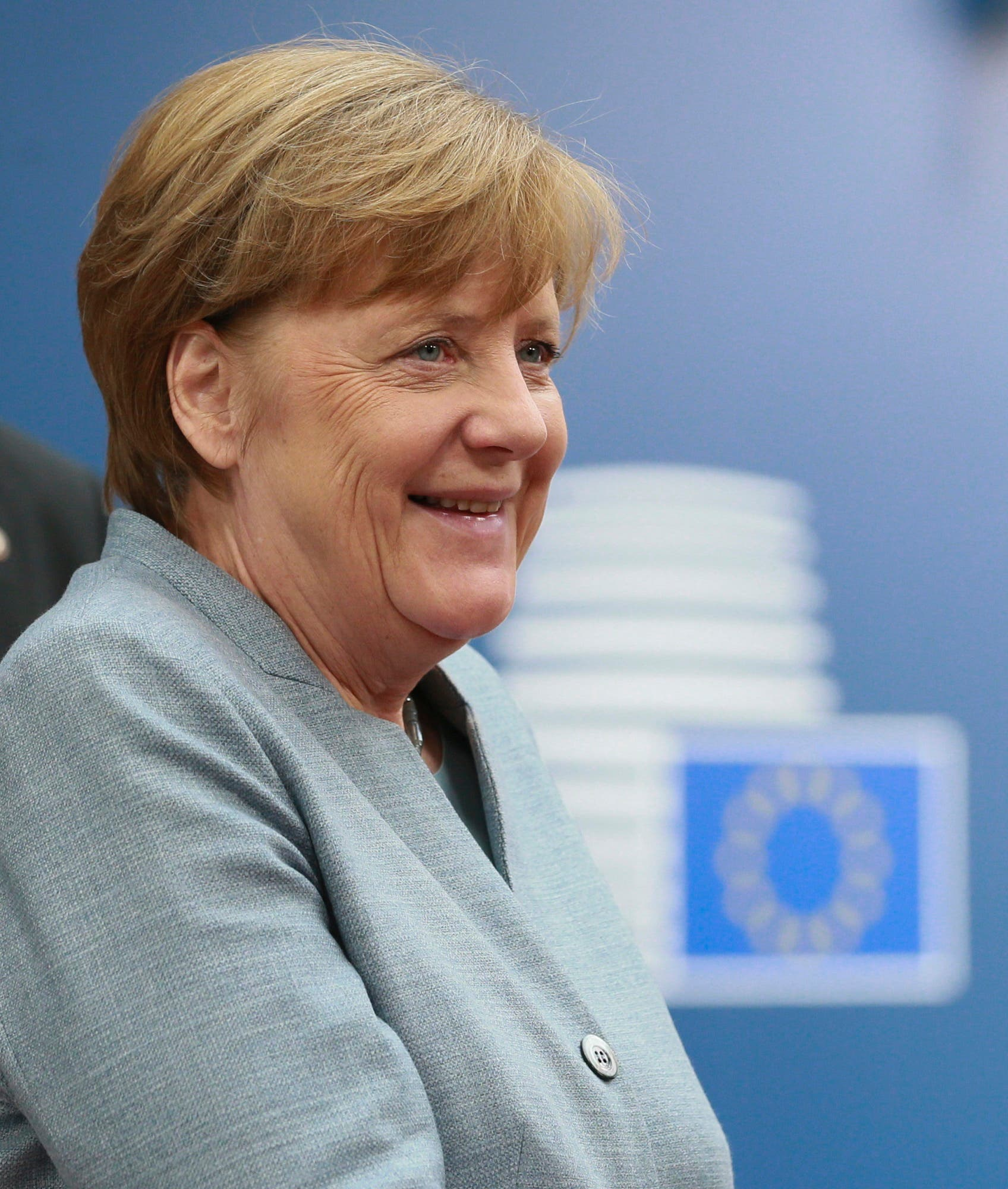 German Chancellor Angela Merkel arrives for an EU summit at the Europa building in Brussels on Saturday, April 29, 2017. EU leaders met on Saturday for the first time as the formal European Council of 27 to adopt guidelines for the upcoming Brexit negotiations. (Olivier Hoslet, Pool Photo via AP)