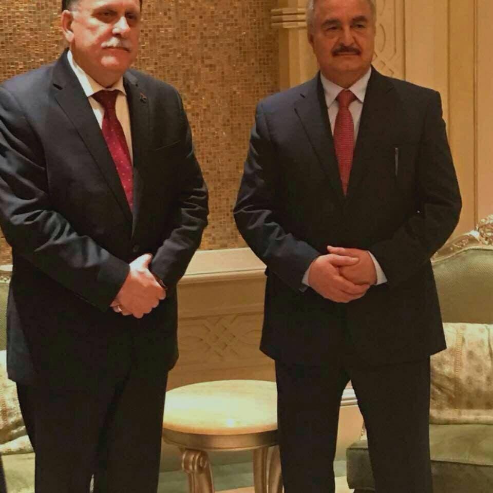 """""""الأوروبي"""" يعلن دعمه للقاءات السراج وحفتر في أبوظبي"""
