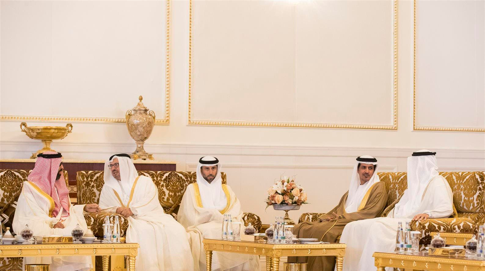 His Highness Sheikh Mohamed bin Zayed Al Nahyan, Crown Prince of Abu Dhabi meets with Angela Merkel, Chancellor of the Federal Republic of Germany, on Monday. (Photo Courtesy: WAM)