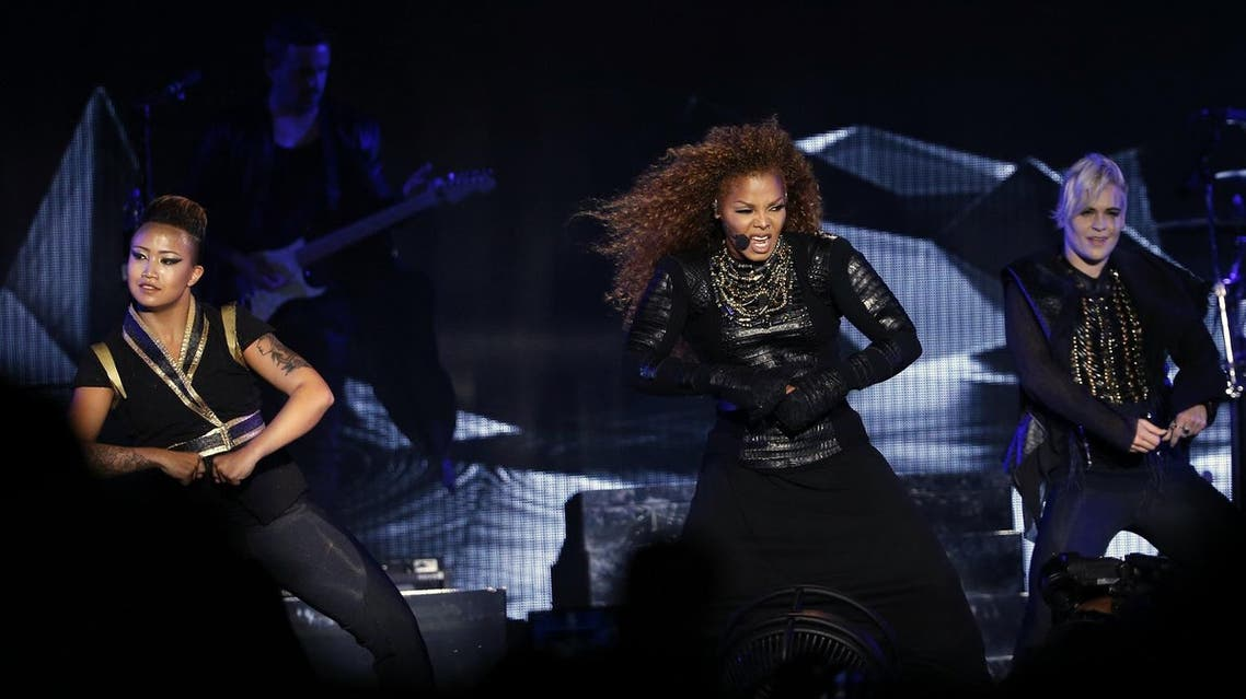 US singer Janet Jackson performs during the Dubai World Cup horse racing event on March 26, 2016. (AFP)