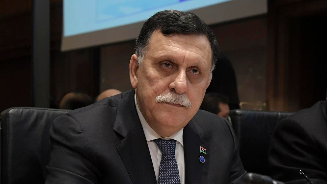 """Libyan Prime Minister Fayez al-Sarraj looks on during the """"Central Mediterranean contact group"""" meeting on March 20, 2017 in Rome. Interior ministers from the central Mediterranean met in Rome March 20 to ramp up efforts to curb migration from Libya amid a sharp rise in the number of people attempting the perilous crossing to Europe. AFP"""