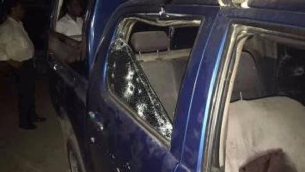 سيارة الكمين بعد تعرضها للهجوم