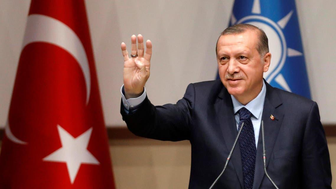 أردوغان في احتفال بمناسبة عودته إلى حزب العدالة والتنمية الحاكم في أنقرة