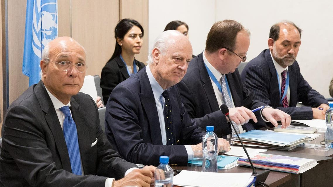 U.N. Special Envoy for Syria Staffan de Mistura (2nd L) attends a meeting of Intra-Syria peace talks with Syria's opposition delegation at Palais des Nations in Geneva, Switzerland , March 30, 2017. REUTERS/Xu Jinquan/Pool