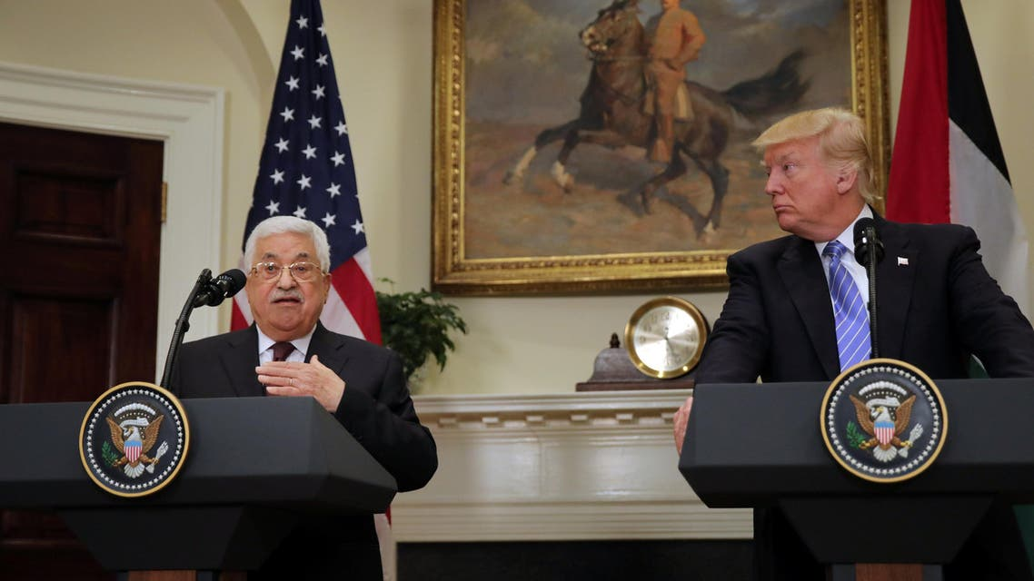 Palestinian President Mahmoud Abbas delivers a statement accompanied by U.S. President Donald Trump during a visit to the White House in Washington D.C., U.S., May 3, 2017.