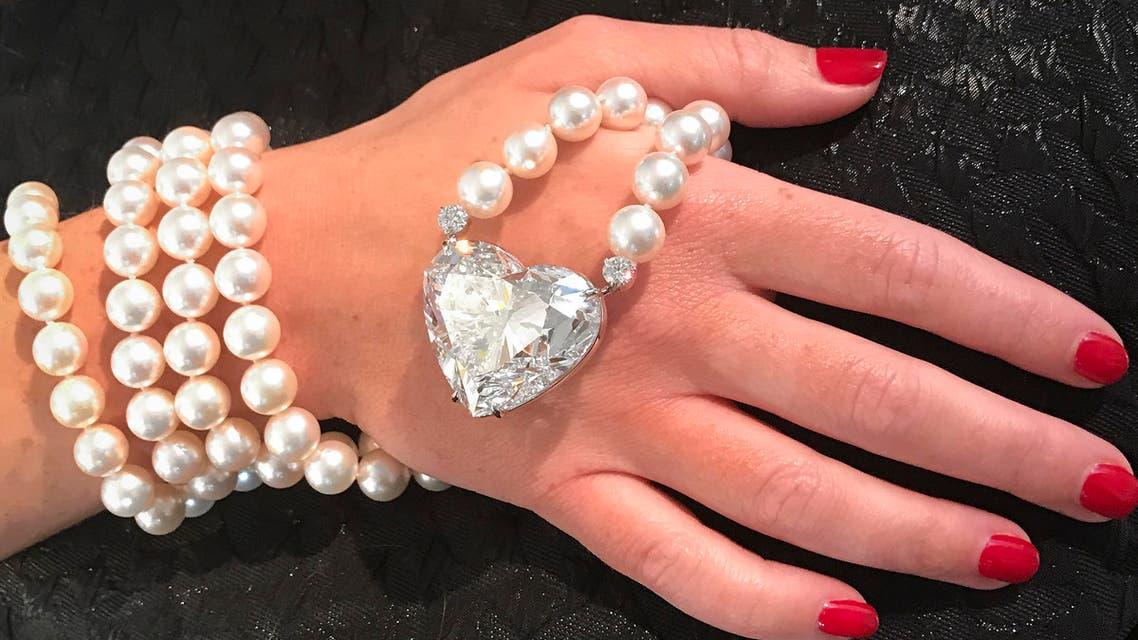 "a 92-carat D color ""flawless"" heart-shaped diamond pendant. (AFP)"
