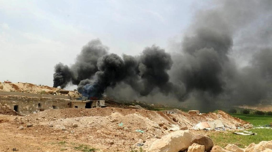Smoke rising from an area in Idlib province on April 27, 2017. (Reuters)