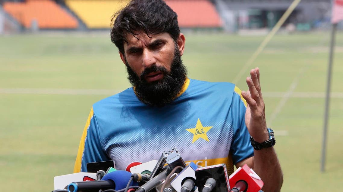 Misbah-ul-Haq announcing at a news conference at Gaddafi stadium in Lahore, Pakistan, on April 6, 2017 his retirement from international cricket after series against the West Indies. (AP)