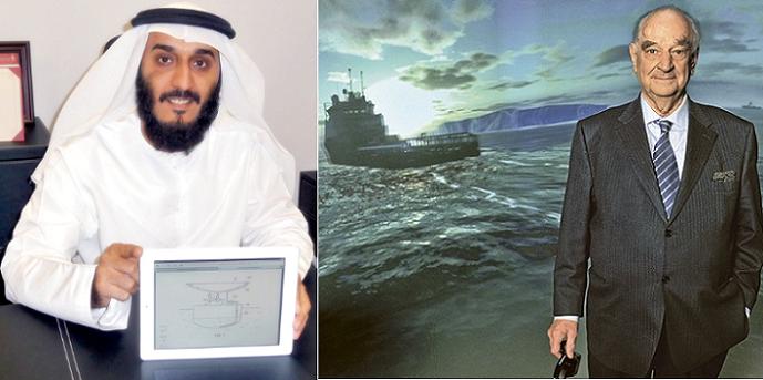 المهندس الفرنسي جورج موجان ونظيره الاماراتي عبد الله الشحي