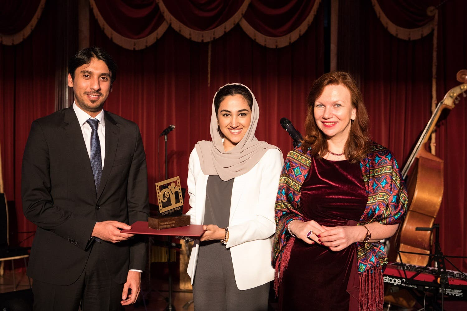 Ahlam AbdulMajeed Bolooki, Senior Manager Campaigns, Campaign Management, Dubai Tourism, who received the award on behalf of Dubai Tourism,  is pictured here at the event along with Yousof Naser AlMazrouei, Charge d'Affaires at the UAE Embassy in Latvia.