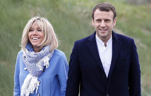 مکرون و همسرش