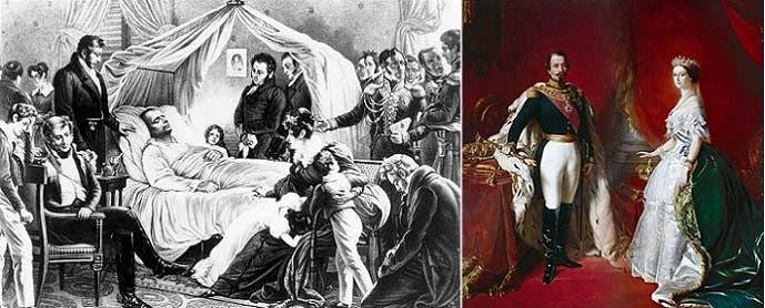 لوحة له مع زوجته التي دشنت قناة السويس، وثانية لساعة موته ضحية من تضاعفات حبة حصى بمرارته