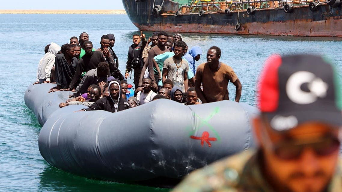 Illegal migrants, who were rescued by the Libyan coastguard in the Mediterranean Sea off the Libyan coast, arrive at the naval base in the capital Tripoli on May 6, 2017. AFP