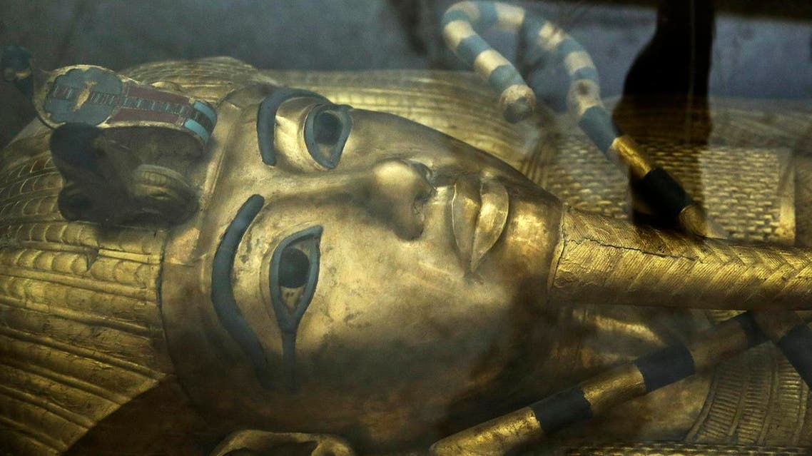 The tomb of King Tut is displayed in a glass case at the Valley of the Kings in Luxor, Egypt. (File photo, AP)