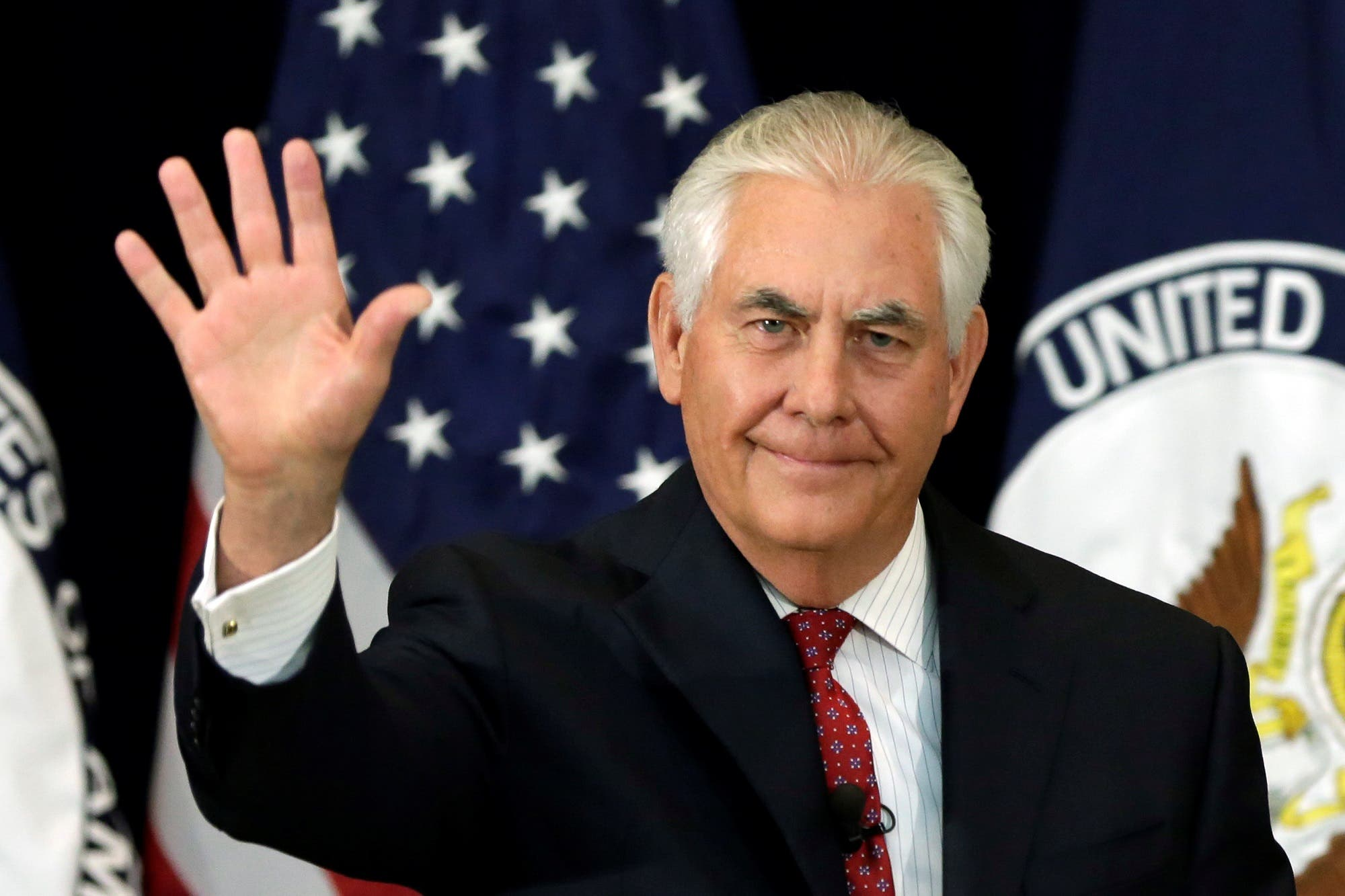 US Secretary of State Rex Tillerson waves after delivering remarks to the employees at the State Department in Washington, US, May 3, 2017. REUTERS/