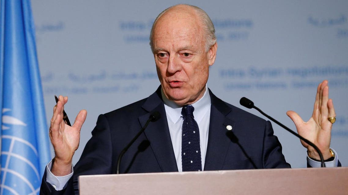 United Nations Special Envoy of the Secretary-General for Syria Staffan de Mistura attends a news conference after meetings during the Intra Syria talks. (Reuters)