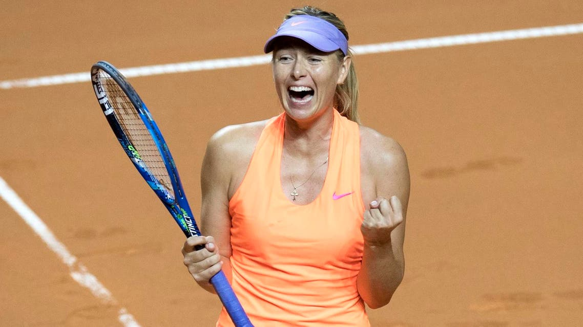 Russia's Maria Sharapova celebrates after she defeated Estonia's Anett Kontaveit in the quarterfinal match at the WTA Tennis Grand Prix in Stuttgart, southwestern Germany, on April 28, 2017. afp