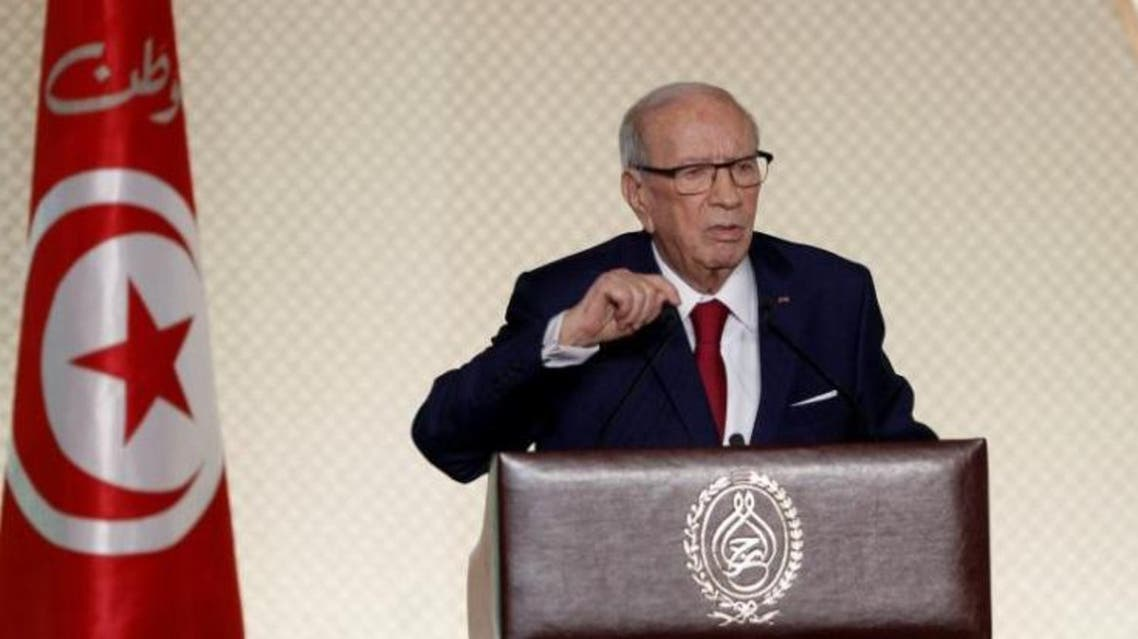 Tunisian President Beji Caid Essebsi delivers a speech in Tunis, Tunisia May 10, 2017. (Reuters)