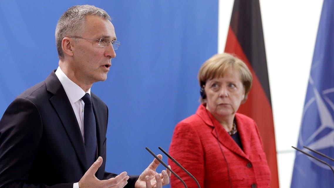 Jens Stoltenberg meets German Chancellor Angela Merkel from AP