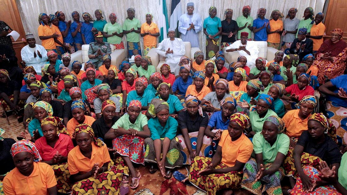 82 rescued Chibok girls during a reception ceremony at the Presidential Villa in Abuja, on May 7, 2017. (AFP)