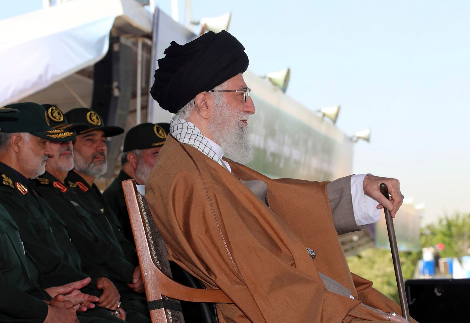 In this picture released by official website of the office of the Iranian supreme leader on Wednesday, May 10, 2017, Supreme Leader Ayatollah Ali Khamenei attends a graduation ceremony of a group of the Revolutionary Guard cadets in Tehran, Iran. (AP)