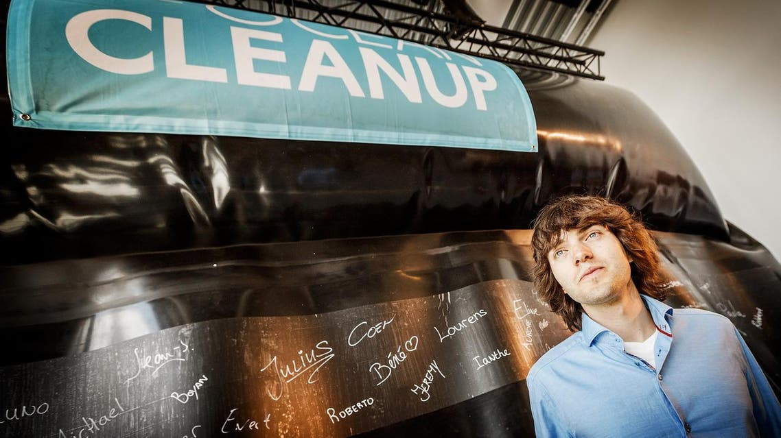 Dutch environmental activist and innovator Boyan Slat attends the presentation and the unveiling of his prototype of The Ocean Cleanup project. (AFP)