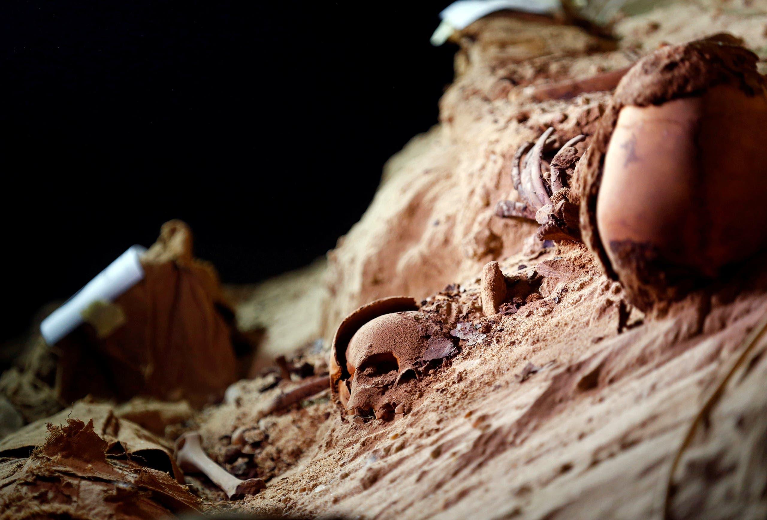 بعض الجماجم المدفونة في الرمال داخل السرداب