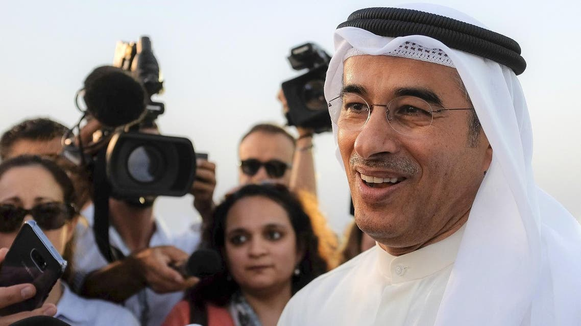 Mohammad Alabbar (right), chairman of Emaar Properties, speaks to the press during a groundbreaking ceremony of The Tower at Dubai Creek Harbour on October 10, 2016. (AFP)