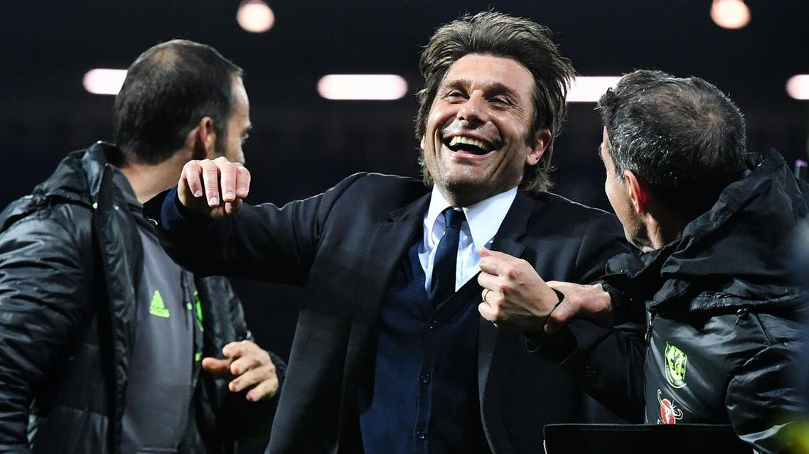 Chelsea's Italian head coach Antonio Conte celebrates victory after the English Premier League match between West Bromwich Albion and Chelsea at The Hawthorns stadium in West Bromwich, west Midlands on May 12, 2017. afp