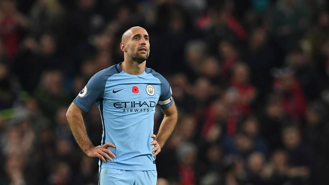 Manchester City's Argentinian defender Pablo Zabaleta reacts at the end of the English Premier League football match between Manchester City and Middlesbrough at the Etihad Stadium in Manchester, north west England, on November 5, 2016. (AFP)
