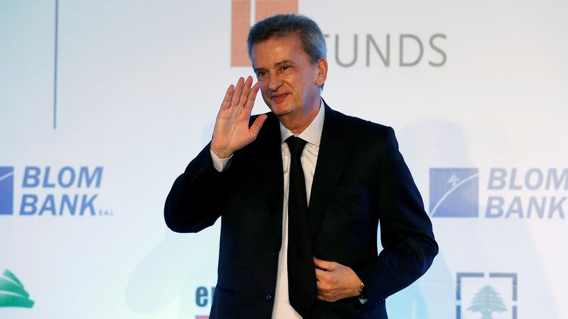 Lebanon's Central Bank Governor Riad Salameh gestures at a Euromoney conference in Beirut, May 15, 2017. (Reuters)