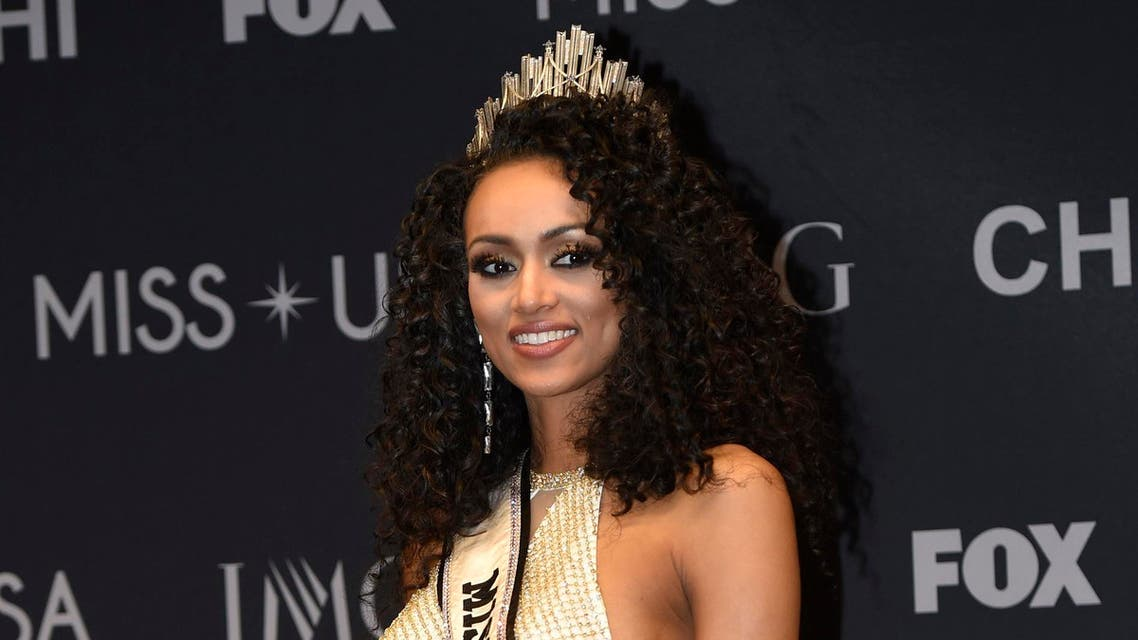 2017 Miss USA Kara McCullough of the District of Columbia poses during a press conference after the pageant. (Reuters)