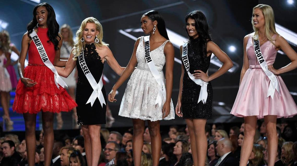 Miss California India Williams, Miss Tennessee Allee-Sutton Hethcoat, Miss Missouri Bayleigh Dayton\, Miss New Jersey Chhavi Verg and Miss Minnesota Meredith Gould. (Reuters)