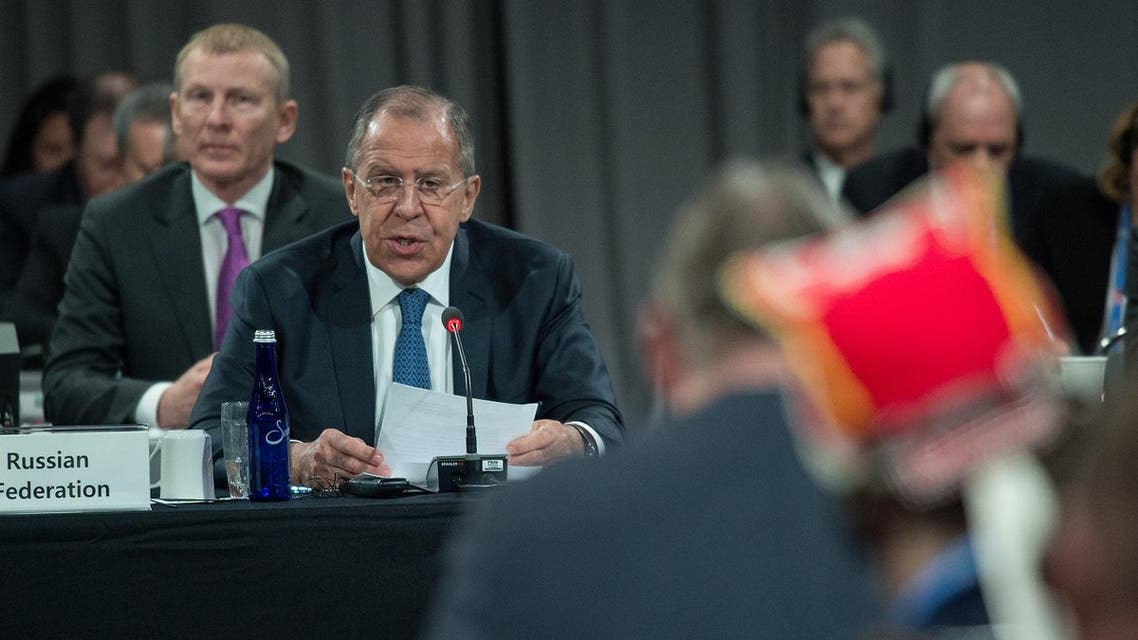 Russian Foreign Minister Sergei Lavrov speaks during the plenary session of the Arctic Council meeting in Fairbanks, Alaska, on May 11, 2017. (AFP)