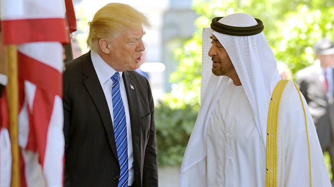 President Donald Trump welcomes Abu Dhabi's Crown Prince Sheikh Mohammed bin Zayed Al Nahyan to the White House in Washington. (AP)