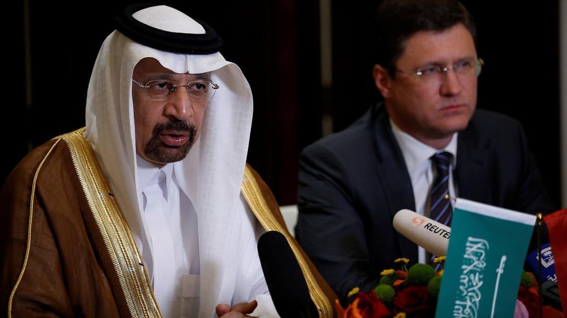 Saudi Arabia's Energy Minister Khalid al-Falih (L) and Russia's Energy Minister Alexander Novak attend a joint briefing in Beijing, China May 15, 2017. (Reuters)