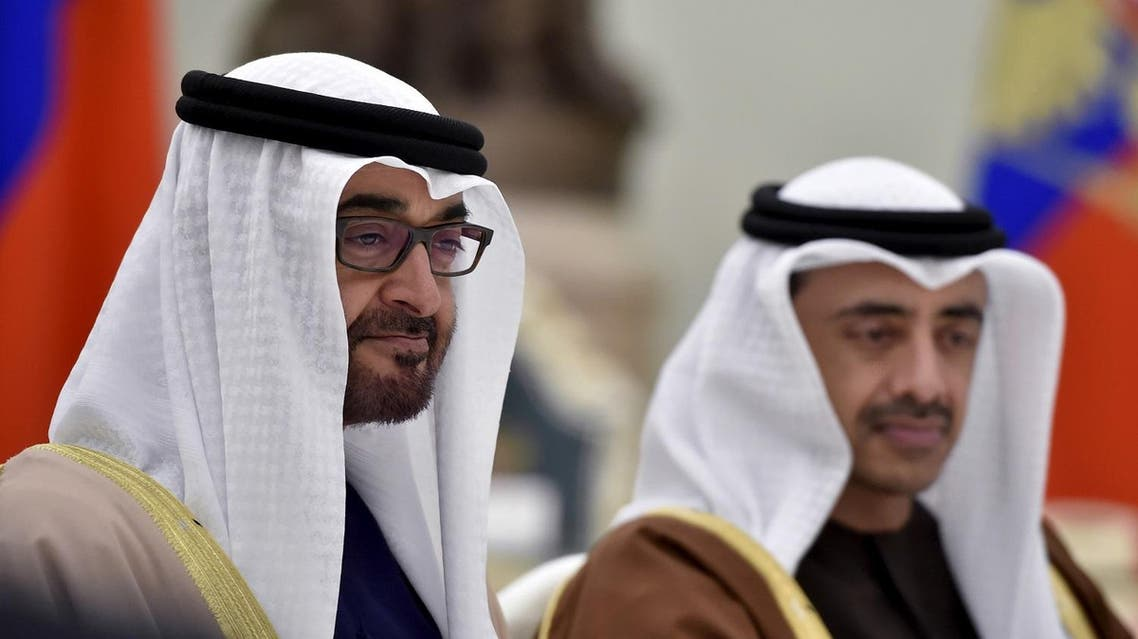 Sheikh Mohammed bin Zayed al-Nahyan (L), Crown Prince of Abu Dhabi and UAE's deputy commander-in-chief of the armed forces attends a meeting with Russian President Vladimir Putin at the Kremlin in Moscow, Russia, March 24, 2016. REUTERS