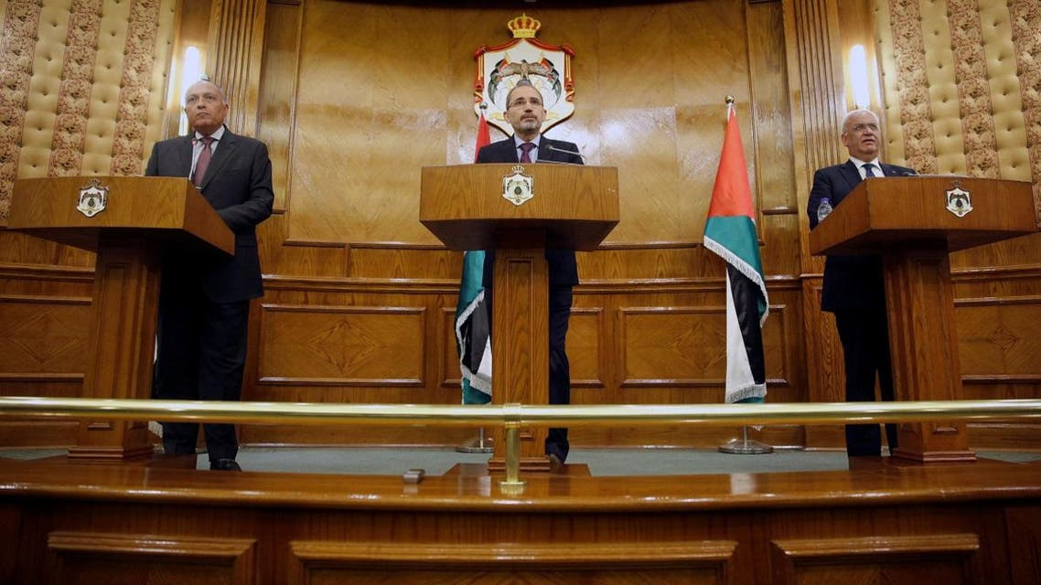 Jordan's FM Safadi speaks during joint news conference with his Egyptian counterpart Shoukry in Amman. (Reuters)